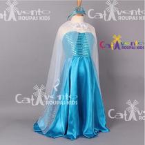 Vestido - Fantasia Frozen Elsa Com Capa E Coroa