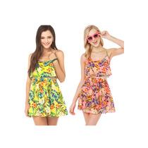 Lindo Vestido Feminino Curto Floral M E G Coral Rosa Estampa