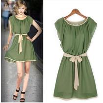 Vestido Feminino Curto Com Faixa Cintura Verde Lindo M
