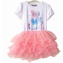 Vestido De Bailarina Frozen Elsa Com Saia Em Tule