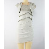 Sl Fashion S Vestido Sem Mangas Em Camadas Com Renda Bolero