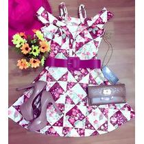 Vestido Rodado Alça Princesa Com Cinto Violeta - Perfeito!!!