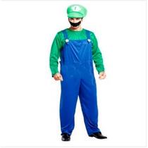 Fantasia Masculina Luigi Mario Bros Importado Arrase Á Festa