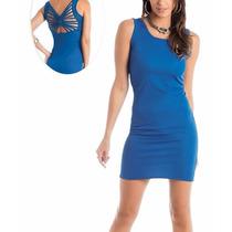 Vestido Curto Detalhe Trançado Nas Costas Azul