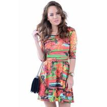 Vestido Feminino Transpassado Estampado - Kam Bess - Ve0826