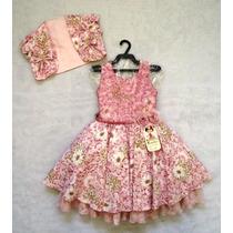 Vestido Luxo C/ Colete Flores Bambina Fashion Promoção