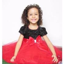 Vestido Infantil De Festa Princesa Luxo Preto Com Vermelho