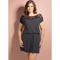Vestido Com Franjas Poá Acinturado Plus Size Extra Grande!