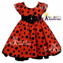 Vestido Infantil Festa Minnie/joaninha Vermelho Com Tiara