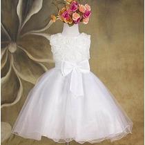 Vestido Daminha Batizado Branco - Pronta Entrega