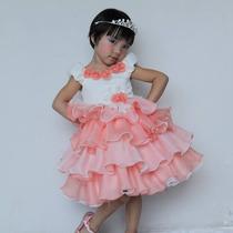 Vestido Festa Princesa Cor Salmão Importado Luxo 3 A 8 Anos
