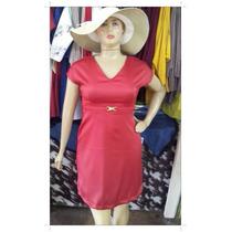 Vestido Sarja Acetinada Com Cinto - Moda Evangélica