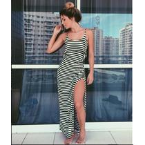 Vestido Listrado Longo Verão - Envio Rápido