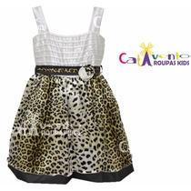 Vestido De Festa Infantil - Oncinha - Com Tiara