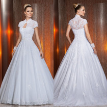 Vestido De Noiva Com Mangas Bordado Lindíssimo Importado