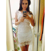 Vestido Branco Em Gripir E Tule - Em Pronta Entrega!!