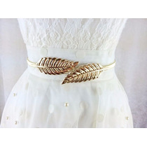 Cinto Lindo Para Vestido Folha Vintage Importado Ouro