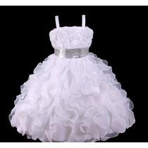 Vestido Infantil/festa/daminha Branco Neve Com Paetês