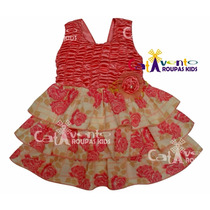 Vestido De Festa Infantil Floral Com Tiara De Brinde.