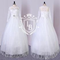 Vestido Noiva Princesa Manga Renda +veu+saiote-frete Gratis