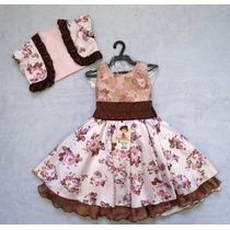 Vestido Flores C/ Colete Rosa Bambina Fashion Promoção!!