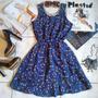 Vestido Azul Romântico Algodão Estampado Chaves Babados P