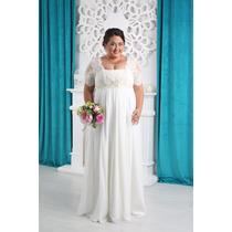 Luxo: Vestido Noiva Plus Size E Renda Nobre, Seda E Bolero