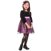 Vestido Infantil Festa Princesa Manga Longa Roxo Com Tiara