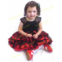 Vestido Da Minnie / Joaninha Fantasia Festa Infantil Luxo