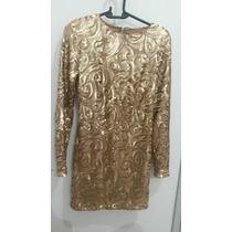 Vestido De Festa Colcci Tamanho P Todo De Paetê Dourado