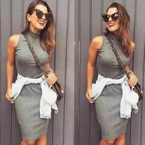 Vestido Tubinho Cinza Gola Alta
