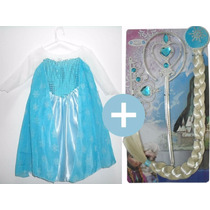 Vestido Frozen Elsa Ou Anna Infantil Fantasia + Acessórios