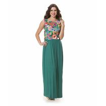 Vestido Longo Casual Floral Malha Flamê Elastano Promoção