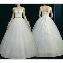 Vestido De Noiva Manga Pedraria Pronta Entrega + Véu