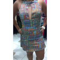Vestido Estampado C/ Tela Decote Moda Festa Balada