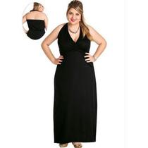 Vestido Feminino Plus Size Preto Frente Unica - Promoção!