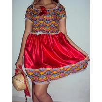 Fantasia Caipira Infantil Vestido Junino + Chapéu Com Trança
