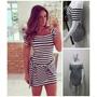 Lindo Vestido Listrado Modelo Nicole Bahls Tecido Ponto Roma
