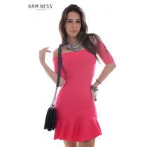 Vestido Feminino De Bandagem Com Babado - Kam Bess - Ve1020