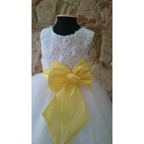 Vestido Infantil Dama/florista Branco Laço Amarelo