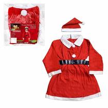 Fantasia Festa Natal Vestido Mamãe Noel 6 A 8 Anos Infantil