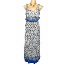 Vestido Indiano Longo Viscose Pedras Bordada Dudalinda Flor
