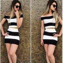 Conjunto Saia E Top Cropped Blusa Feminino - Promoção