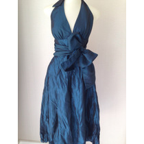 Vestido De Seda Frente Única Azul Petróleo Novo C/etiqueta