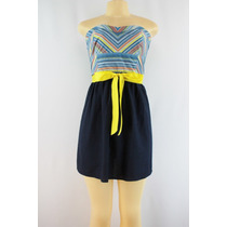Vestido De Algodão Listrado Multicolorido Adolescente Azul