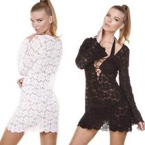 Micro Vestido Curto Soltinho De Renda Decote V Sem Forro
