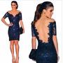 Vestido Azul Renda-curto-p.entrega