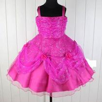 Vestido Infantil Azul Princesa Flores Em Pink, Vinho, Rosa