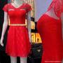 Vestido De Renda Feminino Com Forro, Vermelho, Frete Grátis