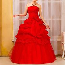 Vestido Vermelho Para Festa Debutante 15 Anos Princesa Longo